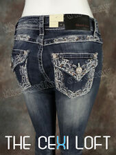 Womens GRACE IN LA Bootcut Jeans Silver & White Embroidery w/ Bronze Crystals!