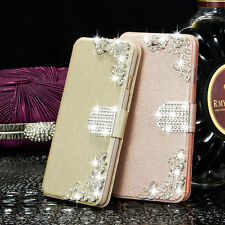 Bling Diamond Rhinestone Bow Leather Stand Case Cover For iPhone & Samsung