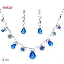 On Sale Crystals Rhinestone Necklace Earrings Set Bridal Wedding Jewelry 8080