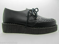 NEW RARE RETRO HAND MADE UK SHOES BLACK LEATHER CREEPERS ROCK PUNK GOTH FASHIONS
