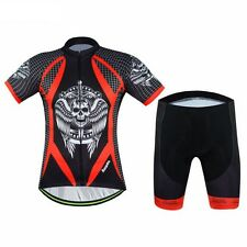 Mens Skull Cycling Outdoor Sports Team Bike Wear Jersey Bib Shorts Sets Clothing