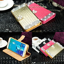 Luxury Diamonds Wallet Magnetic Leather Case Cover For Apple iPhone & Samsung