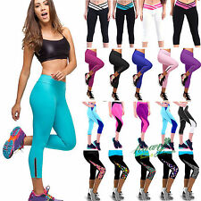 New Womens Cropped Leggings Yoga Stretch Compression Capri Pants Running Bottoms