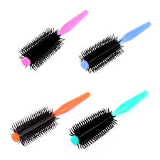 Plastic Handle Flexible Tooth Curly Hair Roll Round Brush Comb