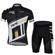 Mens Race Riding Short Sleeve Cycling Jersey Set Mountain Bike Jersey Bib Shorts
