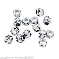 Wholesale Lots Charm Beads White Square Acrylic Fit Bracelets Silver Tone