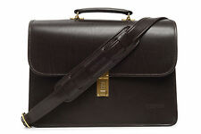 New KORCHMAR F1228 LUX ELLIOT Leather Flapover Gusset Briefcase $560