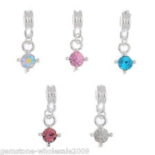 Wholesale Lots Silver Plated Rhinestone Dangle Charm Beads Fit Bracelet 24x9mm
