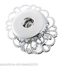 Wholesale Lots Adjustable Ring Fit Snap Button Size 7 Hollow Sliver Tone