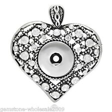 Wholesale Lots Charm Pendant Love Heart Fit Snap Buttons White Rhinestone
