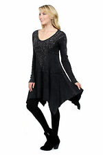 Vocal Jewels Stones Studs Mineral Wash A Line Top Tunic Black Shirt Sexy S M
