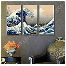 Photo STICKER Katsushika Hokusai The great Wave 3 Panels gallery fine art
