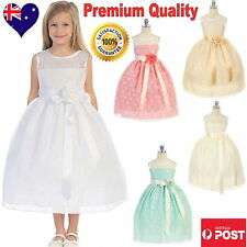 Lace Party Formal Girls Dress Flower Girl Dress White Ivory Champagne Coral Mint