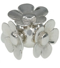 Flower Flowers Dome Design Hallmarked Sterling Silver Ring