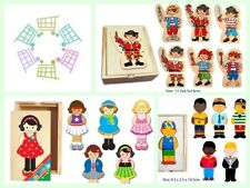 FF 18pcs Mix & Match Dress Up BOY GIRL PIRATE Wooden Puzzle Set Educational Toy