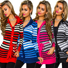 Women's Knit Jacket Cardigan Hood striped M 36 38 Pullover Office Party warm new