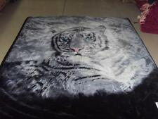 NEW!! 2 ply 2 Sided QUEEN PLUSH MINK BLANKET- WHITE TIGER