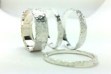 Sterling Silver 2,3,4,6 and 10mm Flat Hammered Wedding Band Ring All Us Sizes