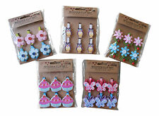 Novelty Wooden  Pegs Chic Flower Butterfly Cupcake And Owl
