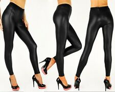 New Sexy Wet Look Black Full Ankle Length Leggings plus size 8 To 22