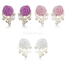 Charm Women Lady Crystal Resin Rose Flower Pearl Earring Ear Stud Party Jewelry