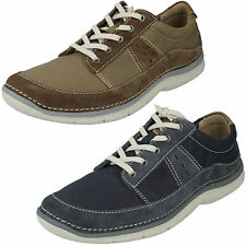 MENS CLARKS LACE UP SUEDE LIGHTWEIGHT COMFY CASUAL CANVAS SHOES RIPTON PLAIN