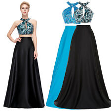 Two Piece Set Sequined Long Prom Dress Formal Evening Ball Gown Homecoming Dress