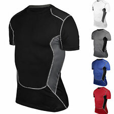 Mens Thermal Compression Base Layer T-Shirt Short Sleeve Tops Tight Sports Wear
