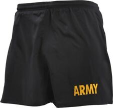 Black Army Physical Training Army Yellow Text Jogging PT Shorts