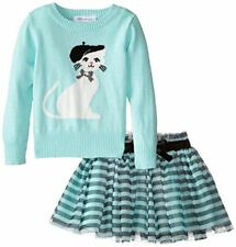 New Girl Bonnie Jean 2 PC Kitty Sweater Tutu Leggings Set Outfit SZ 4 5 Blue