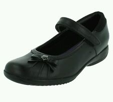 Clarks 'Daisy Spark' Girls Black Leather School Shoes. F FIT