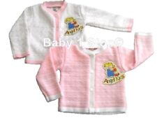 Baby Girls Cardigan Pink or White & Pink Age 0-3 3-6 6-9 Months Round Neck