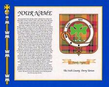 "IRISH SURNAME HISTORY with  COUNTY TARTAN PRINT 10"" x 8"" & FREE A4 NAME HISTORY"