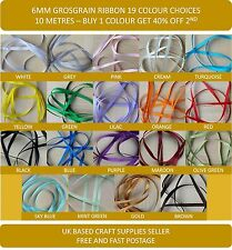 Grosgrain Ribbon Cut Length 6mm 19 Beautiful Solid Colours BUY 1 GET 30% OF 2ND