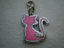 1 OR 2 PINK ENAMEL & SILVER PLATED RHINESTONE CAT  CLIP ON CHARMS FOR BRACELETS