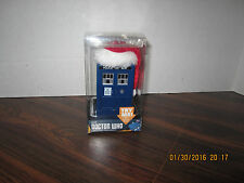 DR WHO TARDIS POLICE BOX CHRISTMAS ORNAMENT WITH A SANTA HAT Sound