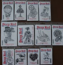 U Choose) 12 Deep Red Cling Stamps Steampunk Dress Airship Gears Sparrow Cyclist