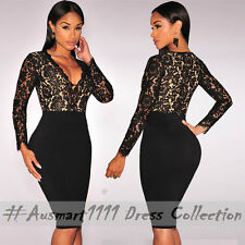 Sexy V Neck Long Sleeve Lace Midi Slim Office Formal Evening Party Bodycon Dress