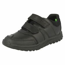 Clarks 'Jack Spring' Boys Black Leather Velcro Fastened School Shoes F FIT