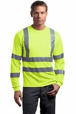 ANSI Class 3 Safety Long Sleeve Snag Resistant Reflective T-Shirt Road Crew