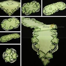 Green Leaf Doily Tablecloth Table Runner Cover Cloth Topper Uni Set Embroidery