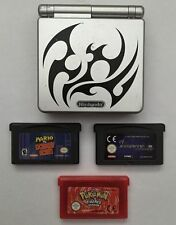 Nintendo Game Boy Advance SP Tribal Limited Edition Silver & Games Pokemon Mario