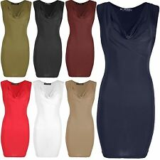 Womens Ladies Cowl Neck Ruched Drape Sleeveless Pencil Mini Bodycon Party Dress