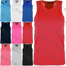 Kids Girls Childrens Ribbed Cotton Racer Muscle Front Back T Shirt Tank Vest Top