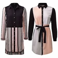 Ladies Contrast Print Striped Shirt Dress Long Sleeved Belted Blouse Size 8-16