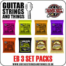 Ernie Ball 3 SET PACKS of Electric and Acoustic Guitar Strings - ALL GAUGES