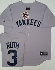 BABE RUTH YANKEES GREY COOPERSTOWN LARGE JERSEY NEW MAJETIC