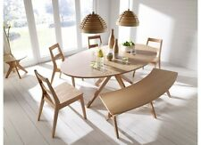 Malmo Dining Table Set Chairs Bench Oak Veneer & Solid Wood Scandinavian Style