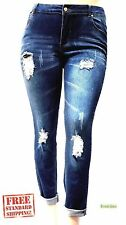 Juniors Womens Plus Size Riped Destroy Blue Denim Roll up Distressed Jeans Pants