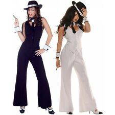 Gangster Costume Adult Female Sexy Roaring 20s Mobster Halloween Fancy Dress